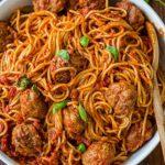 طرز تهیه اسپاگتی با کوفته مرغ