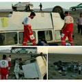 تصادف شدید مینیبوس و اتوبوس با ۶۱ مصدوم – حوادث