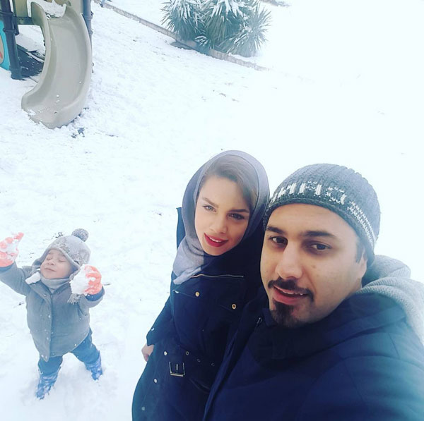 احسان خواجه امیری و همسرش لیلا ربانی و پسرش آرشان