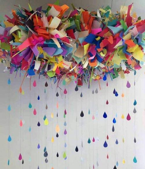 عکس مدل تزئینات بک گراند تولد با کاغذ رنگی