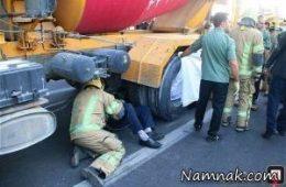 مرگ عابران پیاده زیر چرخ های بونکر سیمان در شهرک غرب تهران