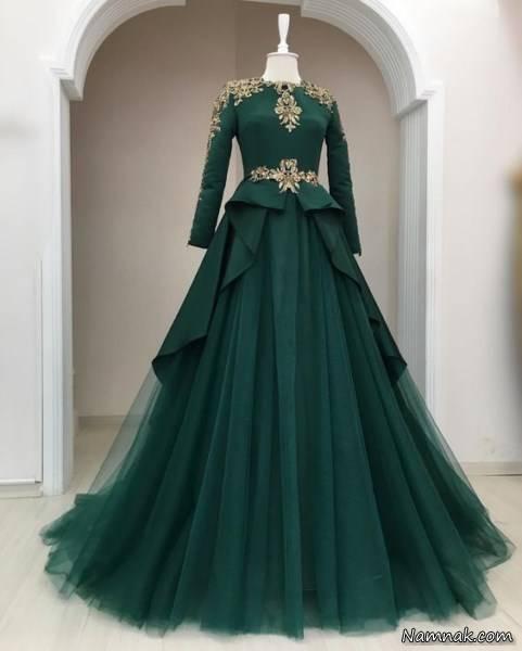 لباس مجلسی کوتاه آبی کاربنی لباس مجلسی پوشیده 2018-مدل لباس عروس پوشیده-مدل لباس عروس ...