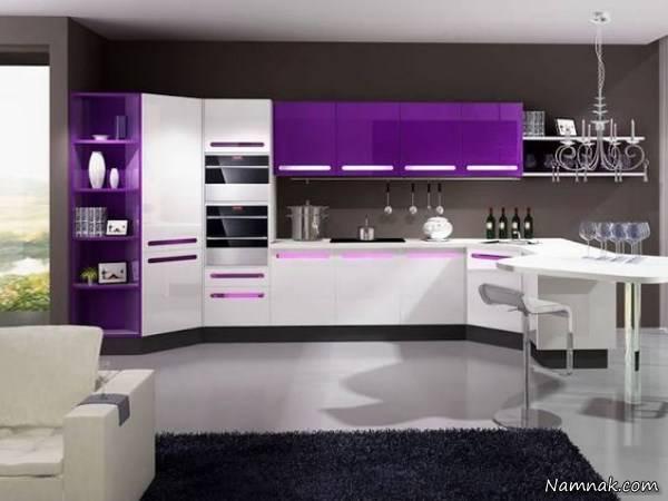کابینت آشپزخانه 2018 رنگ بنفش