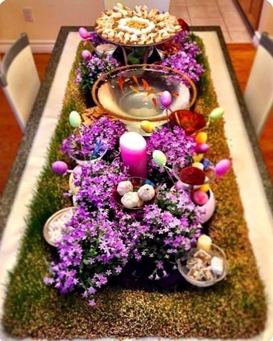 عکس هفت سین سال ۹۷ با گل بنفش