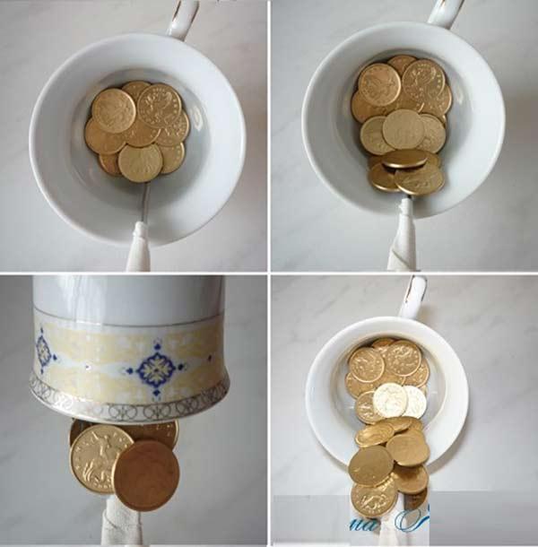 عکس درست کردن فنجان معلق برای تزیین سفره هفت سین