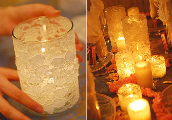 عکس تزیین شمع سفره هفت سین با پارچه توری