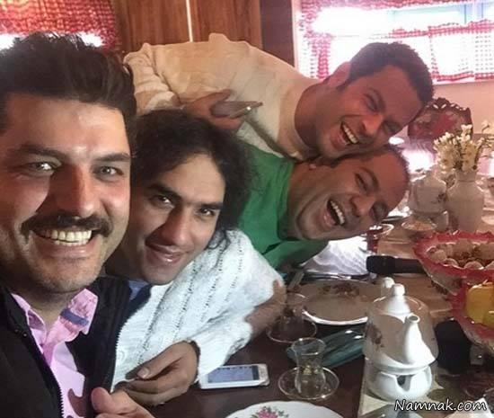 پژمان بازغی ، علی اوجی ، رضا یزدانی در رستوران سام درخشانی در رستوران خونه