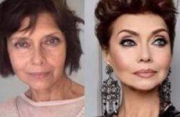 تصاویری جالب از قبل و بعد آرایش روی صورت خانم ها