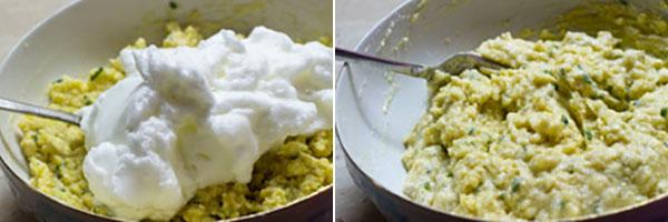 افزودن سفیده تخم مرغ به مخلوط سیب زمینی