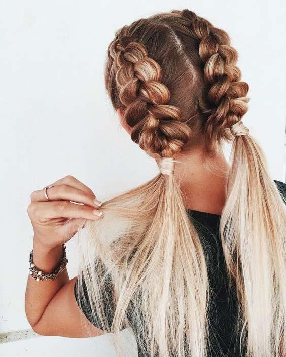 مدل بافت مو دخترانه هلندی دو طرفه