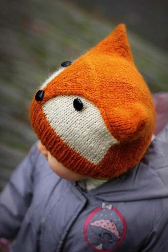 مدل کلاه بافتنی بچه گانه به شکل روباه
