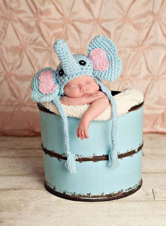 مدل کلاه بافتنی بچه گانه به شکل فیل
