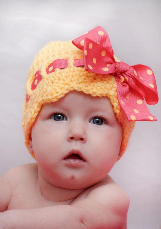 مدل کلاه بافتنی بچه گانه پاپیونی