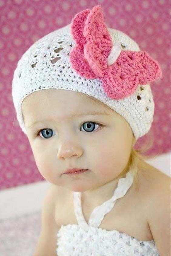 مدل کلاه بافتنی بچه گانه گلدار