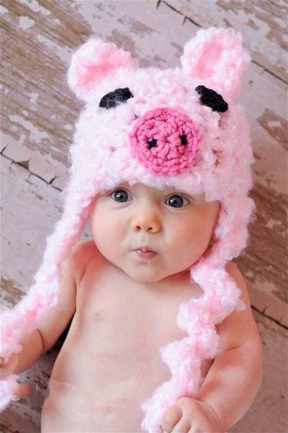 مدل کلاه بافتنی بچه گانه به شکل خوک