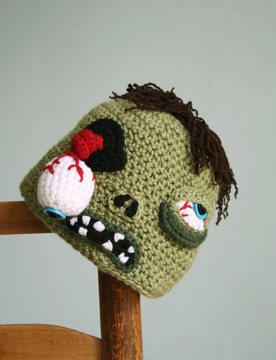 مدل کلاه بافتنی بچه گانه به شکل زامبی