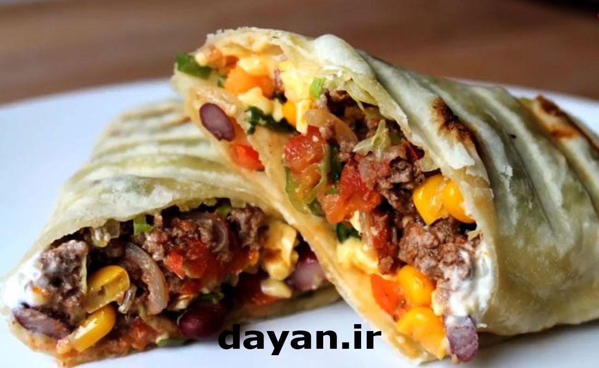 طرز تهیه بوریتو گوشت مکزیکی